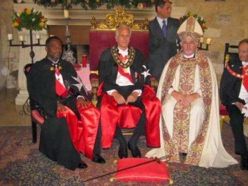 (L-R), King Adamtey I of Ghana (Dr. Kingsley Fletcher); Baron Nicholas Papanicoalou; and Archbishop Gregory Holley, members of the Ecumenical Order of St. John of Jerusalem, Knights of Malta.